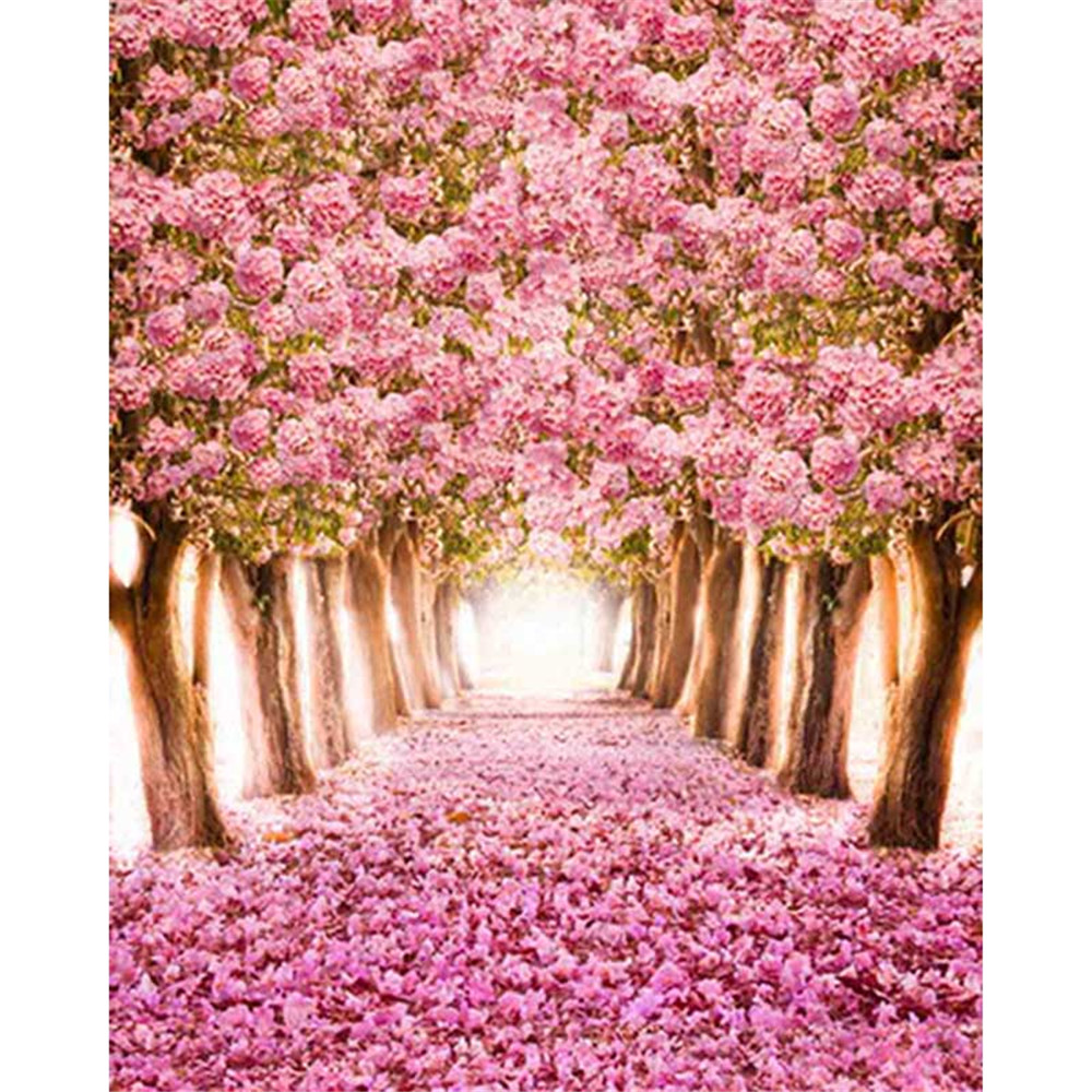 Cherry blossoms photography backdrops pink petals covered road cherry blossoms photography backdrops pink petals covered road spring flower trees kids children girls floral photo background in background from consumer mightylinksfo