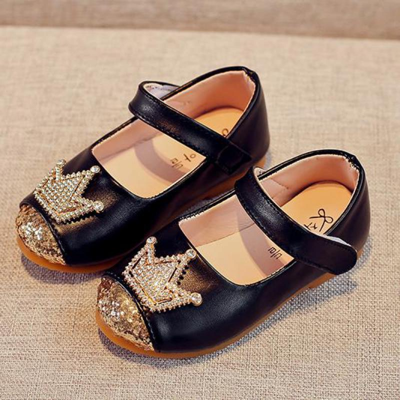 New Hot 2018 Summer Baby Girls Leather Shoes Fashion Crown Children Casual Shoes Genuine Leather Quality Girls Sneaker Bj17129