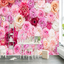 Custom 3D mural rose flower garden theme living room wall decoration painting wallpaper photo