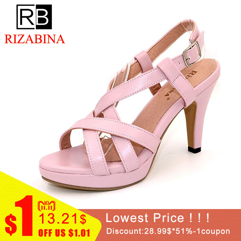 все цены на RizaBina Size32-43 Women's High Heel Sandals Gladiator Shoes Women Lady Sexy Platform Sandals Heels Summer Shoes Sandals PA00905