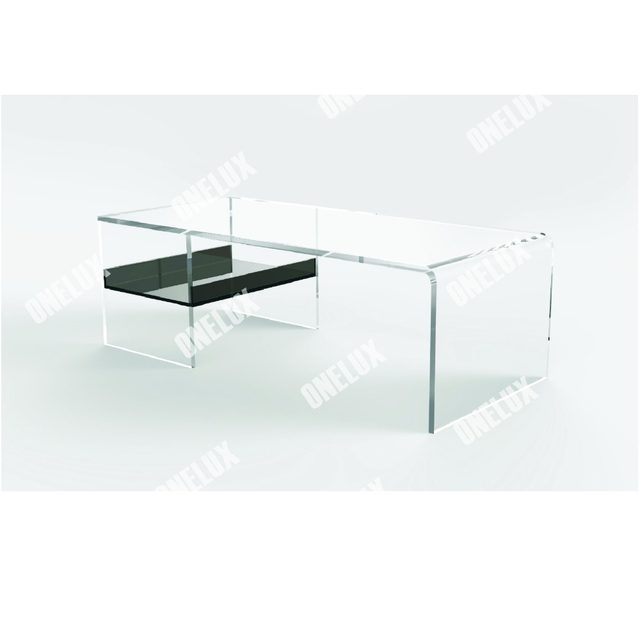 ONE LUX Clear Acrylic Lucite Coffee Table With Tray / Magazine Holder,  Lucite Occasional Tray Table