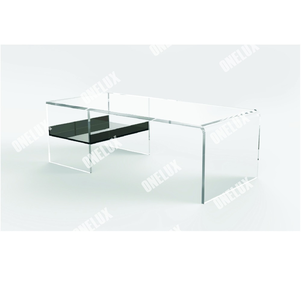 One Lux Clear Acrylic Lucite Plexiglass Coffee Table With Tray Magazine Holder Lucite