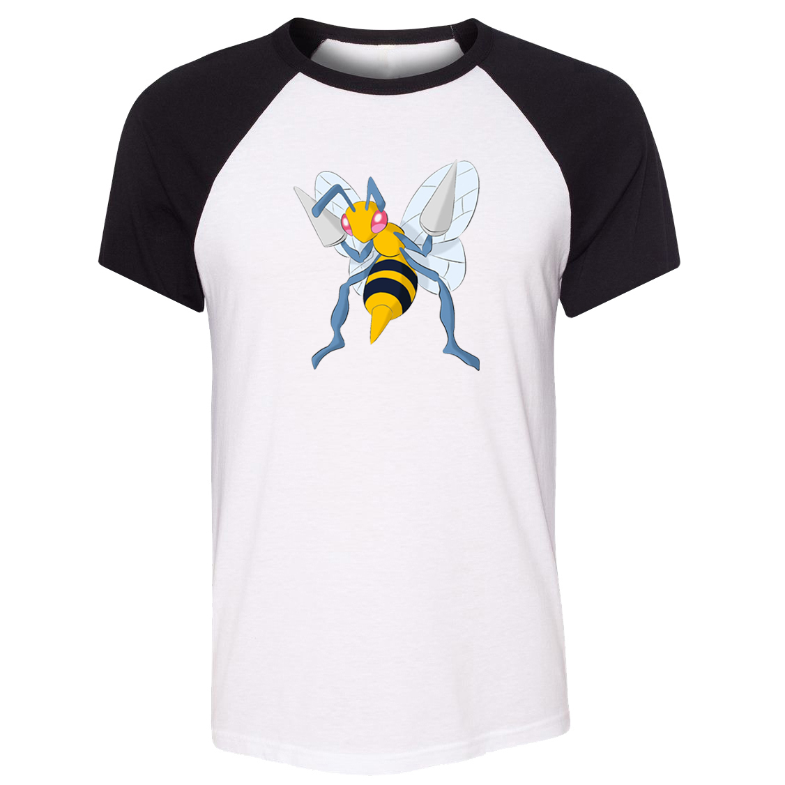 iDzn Unisex Summer T-shirt Cartoon Poison type Bug type Pokemon Beedrill Pattern Raglan Short Sleeve Men T shirt print Tee Tops image