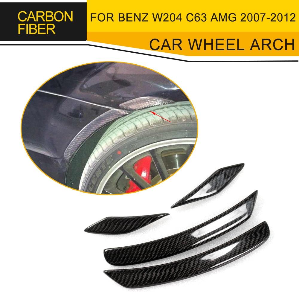 CLASSE C arco da roda do carro de fibra de carbono da roda auto W204 C63 fender flare para Mercedes Benz AMG 2007-2012 4 PCS