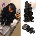 Peruvian Virgin Hair Weft Body Wave 3 or 4pcs Human Hair Weave Bundles with Lace Closure Alimice Hair Products Hair Extensions