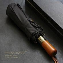 PARACHASE Big Umbrella Men Business Style 115cm Automatic Rain Double Layer 10K Windproof Large Golf Umbrellas Wooden