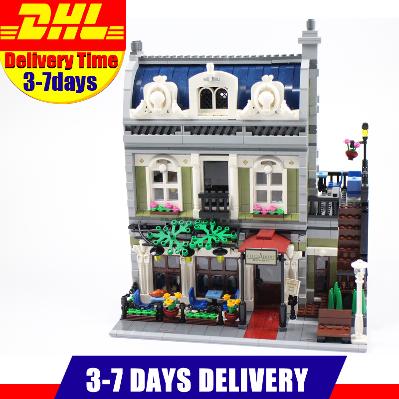 2017 DHL MOC LEPIN 15010 City Street Parisian Restaurant Model Building Kits Set Blocks Toy Clone 10243 Diy Toys new lepin 15010 expert city street parisian restaurant model building kits blocks funny children toys compatible with 10243 gift