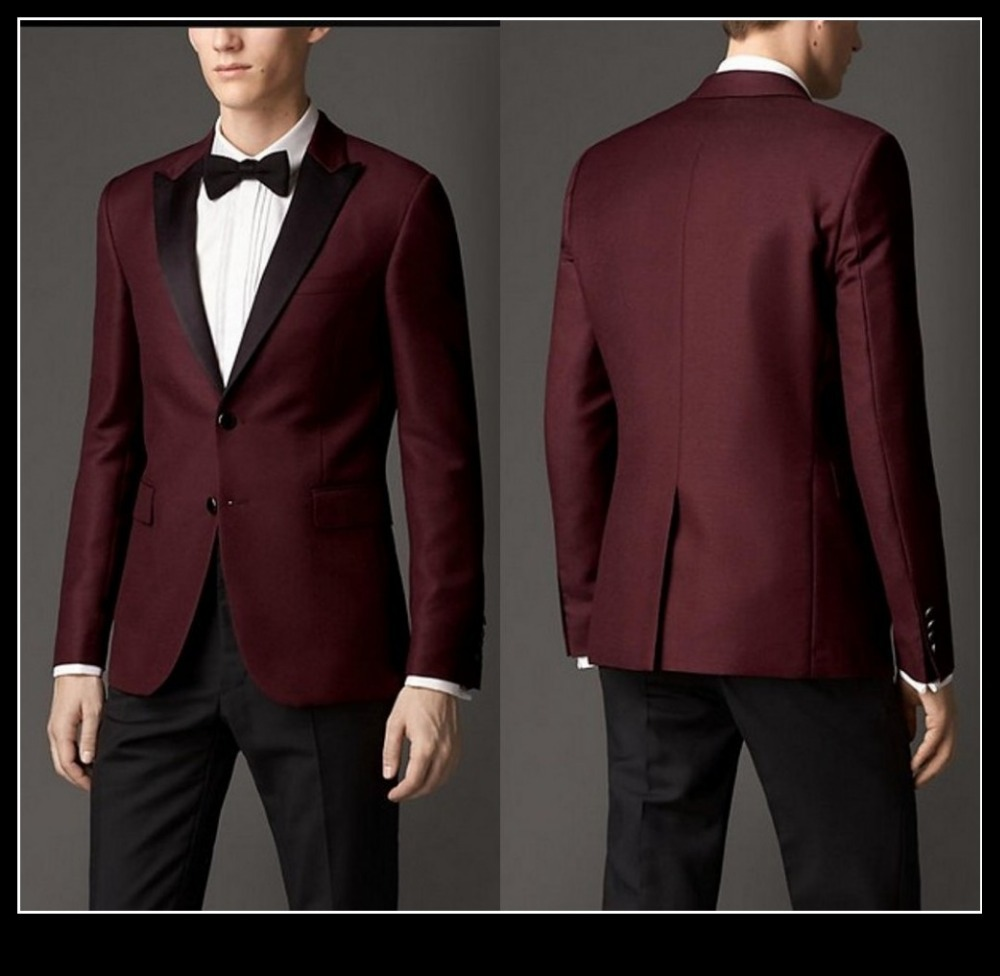 2015 Fashion Men Dark Red Tuxedo Black Peak Lapel Two Button ...
