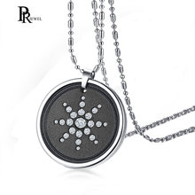 Stainless Steel Round Crystal Volcanic Lava Round Bio Scalar Energy Quantum Pendant Necklace(China)