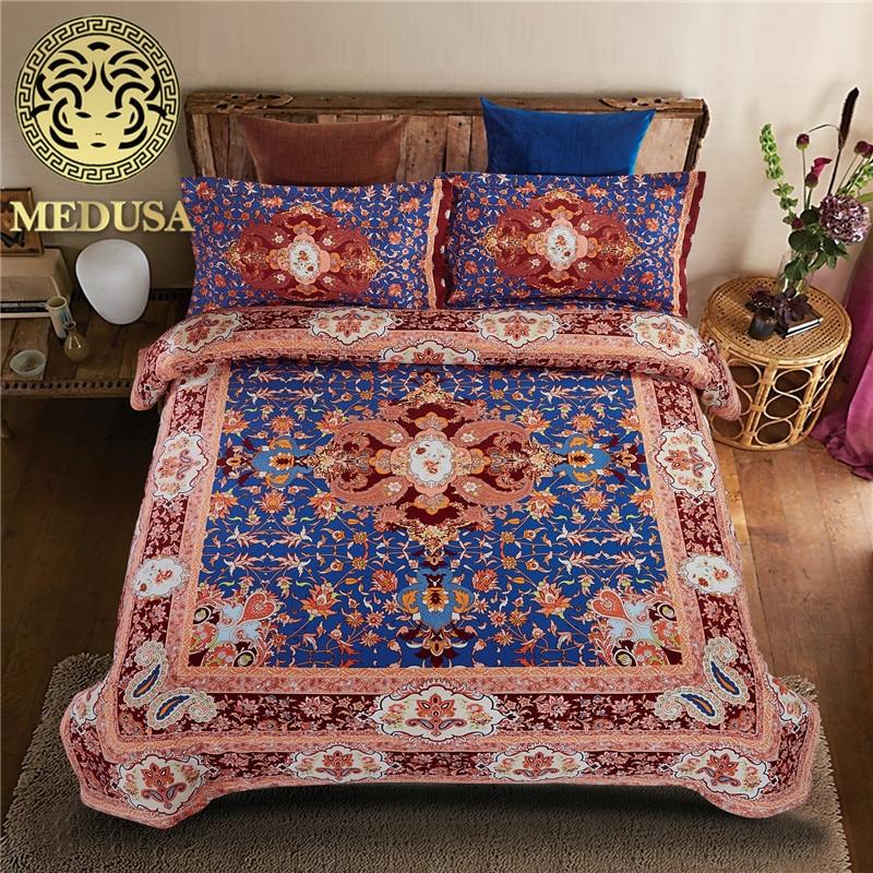 India Boho heaven yoga bedding set duvet cover bed sheet pillow cases queen size,reversible,velvety,deep pocket