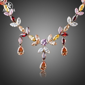 Image 1 - AZORA Gold Color Multicolour Stellux Austrian Crystal Water Drop Necklace and Earring Set TG0026