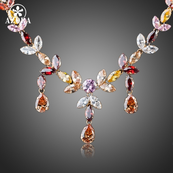 AZORA Gold Color Multicolour Stellux Austrian Crystal Water Drop Necklace and Earring Set TG0026