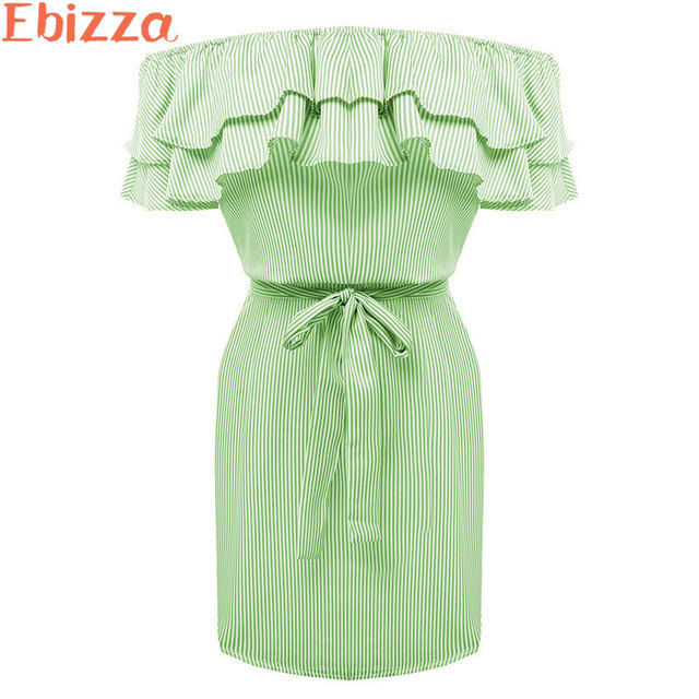 Ebizza Striped Off Shoulder Ruffle Summer Short Dress Women Tie Waist Mini  Dress Sexy Casual Popular 2018 Vestidos 4fb21dbce9c5