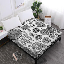 Tribal Hamsa Hand Bed Sheet Bohemia Mandala Print Fitted Sheet Dreamcatcher Print Mattress Cover Elastic Band Home Decor D25 недорого