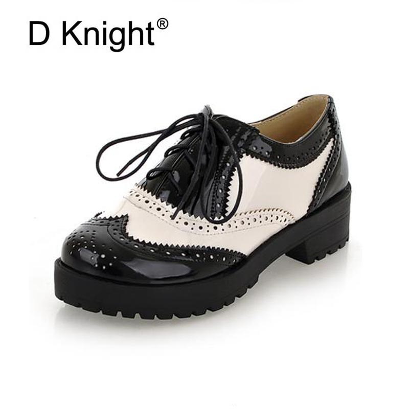 New Fashion Round Toe Lace Up Women Oxfords Vintage Carved Brogue Oxford Shoes For Women Ladies Casual Flat Shoes Big Size 34-43 34 43 big small size new 2016 summer fashion casual shoes moccasins bottom shoe platform flat for women s loafers ladies