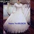 QQ Amante Frisado Gola Alta Mangas Compridas Vestidos de Casamento Vestido de Casamento Muçulmano Vestidos de Casamento Feito Sob Encomenda Vestido de noiva