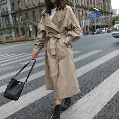 2019 Fashion Spring Autumn Women Runway Designer Oversized Double Breasted Long Trench Coat with Belt Female Casaco Overcoat