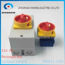 YMD11-25D 4P IP66 IP67 Isolator switch with protective box cover waterproof rotary changeover switch on-off power cutoff