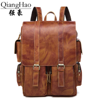 QiangHao Brand New Arrival 2017 Male Functional Bags Fashion Men Backpack 100 Genuine Leather Backpack Big
