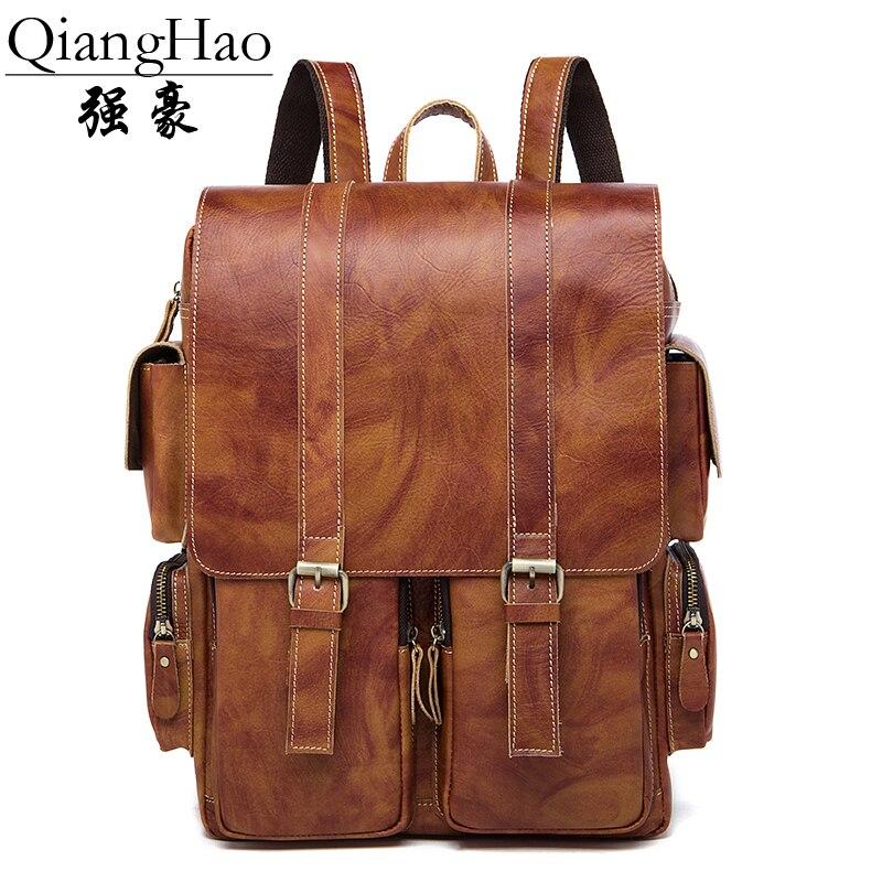 Männer Rucksack Brown Neue Kapazität Marke Qianghao Große Mode Taschen Tasche Echtem Ankunft Männlichen 100 Funktionellen 2017 Leder 8FwxHa