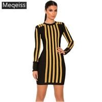 wholesale 2018 winter New style dress Black & gold Striped Long sleeve Women Cocktail Party dress Celebrity Runway Bandage dress