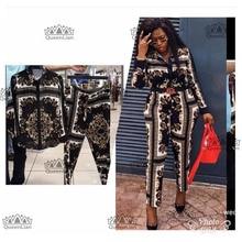 Новая модная(L-XXXXL) Африканская одежда для Леди Топ dashiki и брюки костюм платье XFTZ03