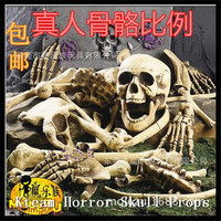 1 Sets Haunted House Props Halloween Decoration Skull Skeleton 28 Crushed Bones Sidenote Scary Room Props of Plastic Bones Props