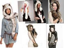 2016 wolf puppy hoods cute animal faux fur hat cap Cartoon Plush Hats With Scarf Paws Sets Warm Caps Beanies Cartoon Panda Hat