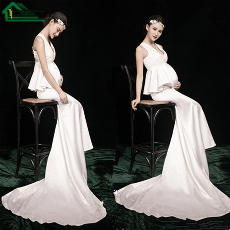 ФОТО 2PCS/Set White High Waist Ruffle Top+Long Trumpet Skirt  Elegant Materninty Pregnancy Women Photo Studio Shoot Clothes for Party