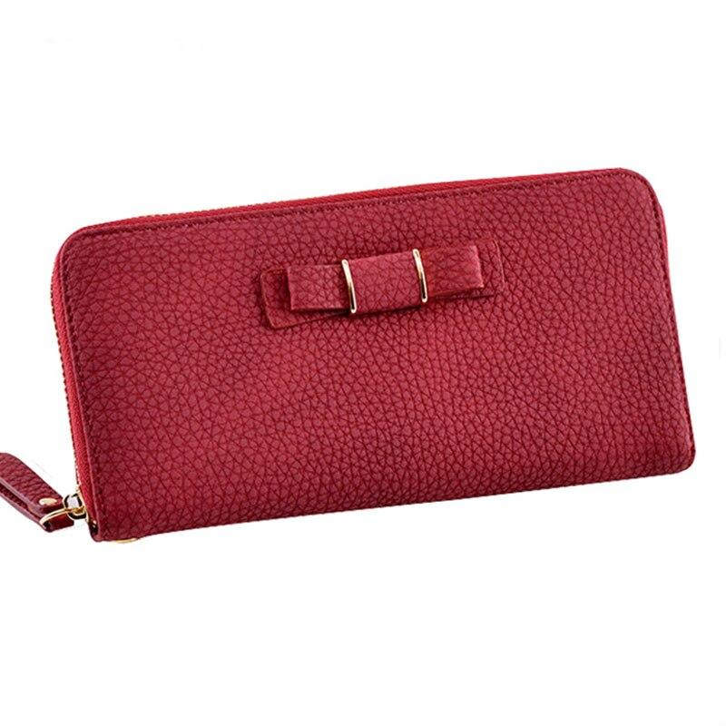 2017 Cute Bowknot Zipper Leather Women Long Wallet Wristlet Female Clutch Purse Candy Color Card Coin Holder Portomonee Phone