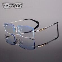 Titanyum Gözlük Erkekler Çerçevesiz Reçete Okuma Miyopi Fotokromik Ilerici Gözlük Büyük Geniş Gözlük Renkli lens ile