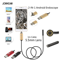 JCWHCAM Android Endoscope Camera 5.5mm Len Flexible Snake USB Pipe Portable Inspection Micro USB Borescope 6LED Camera 480P