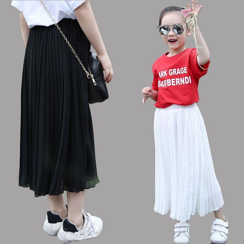 Teenage piger nederdele Sommer Børnetøj Chiffon lange nederdele til piger Elastisk talje Strand Tutu nederdele 2 4 6 8 10 12 13 14 år