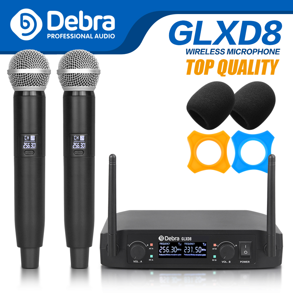 top quality debra glxd8 wireless microphone system with dual handheld mic for stage karaoke. Black Bedroom Furniture Sets. Home Design Ideas