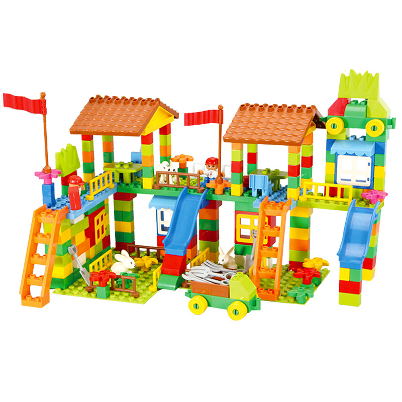 Big Size Diy Building Blocks Happy Town House City Farm Castle Compatible with Legoingly Duplo Slide Toys for Children Baby Gift 120pcs farm building blocks diy toys early learning self locking bricks baby educational toys compatible with duplo play house
