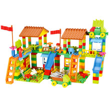 Big Size Diy Building Blocks Happy Town House City Farm Castle Compatible with Legoingly Duplo Slide Toys for Children Baby Gift(China)