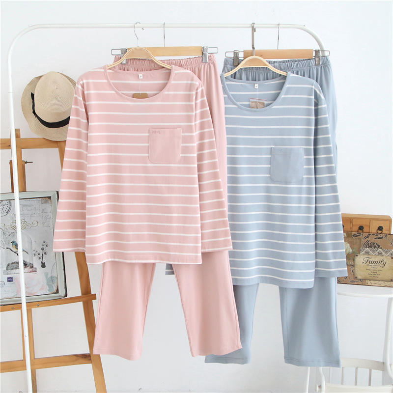 casual cotton couples Home Clothing women sleepwear men pajamas sets striped long sleeve nightwear suit breathable sleep cloth