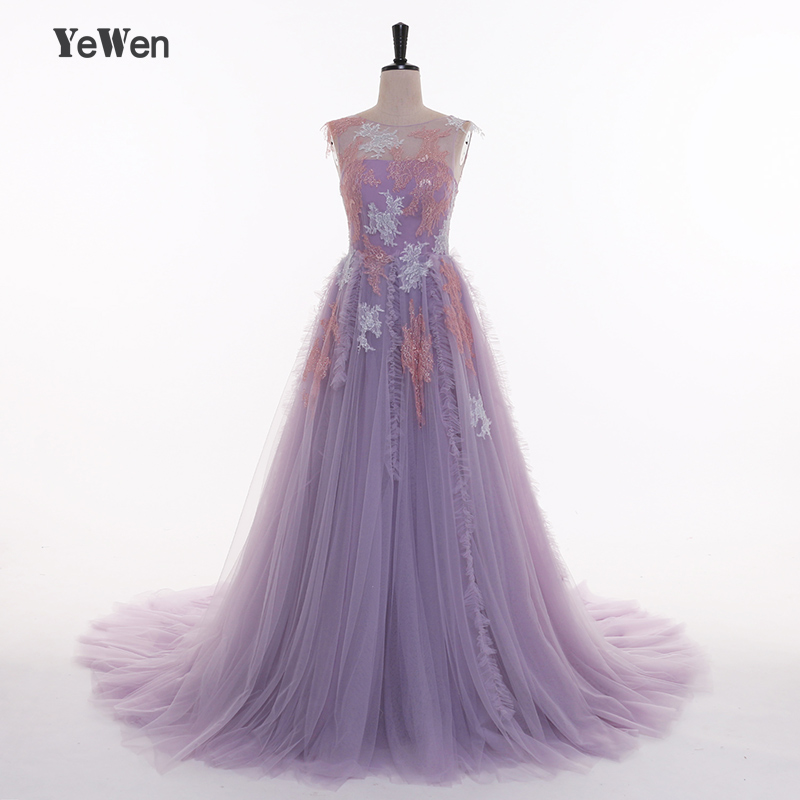 Elegant Evening Dresses Long Lace Appliques Prom Party Dress 2018 Purple Evening gowns For women Plus Size YeWen Backless