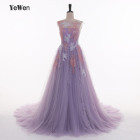 Elegant Evening Dresses Long Lace Appliques Prom Party Dress 2017 Purple Evening gowns For women Plus Size YeWen Backless