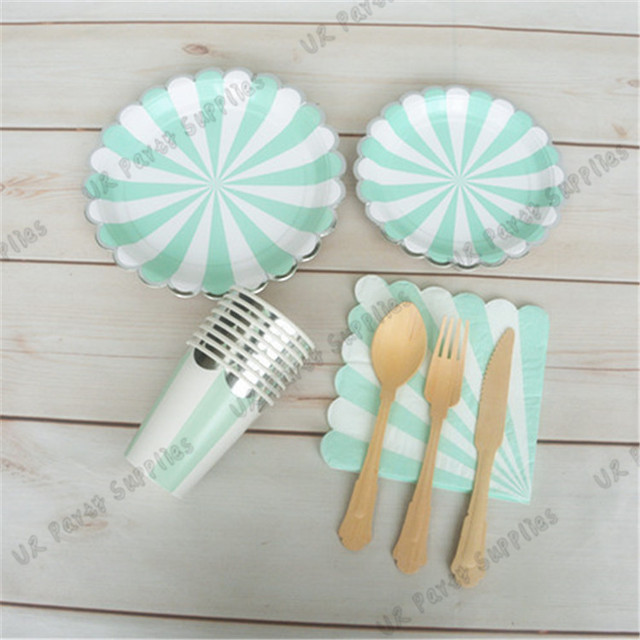 48 people mint party kit bridal shower paper tableware baby shower scallope paper plates napkins foil
