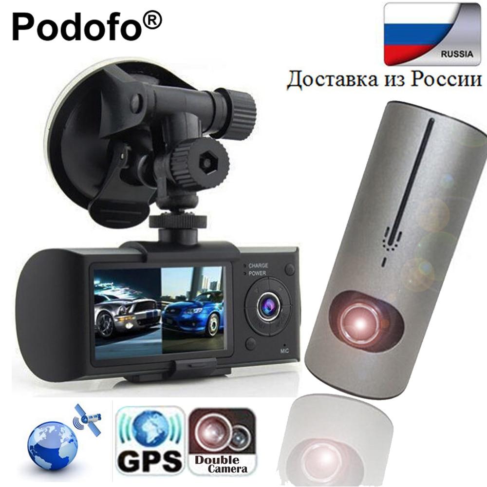 Podofo тире Камера 2.7 ''Dual Камера Видеорегистраторы для автомобилей Видео Регистраторы с GPS регистратор автомобиля рекорда X3000 R300 Видеорегистра...