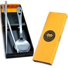 2pcs/set Creative Smiling Face Dinnerware Set Stainless Steel Dinner Fork Scoops Dessert Tableware for Chlidren KV 082