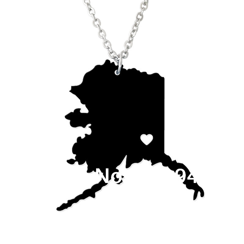 Custom Map Necklace -I heart Alaska Map Pendant - State Charm AK Map Heart necklace-Personalized jewelry