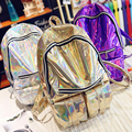 2017 Fashion Women PU Leather Backpacks Students Bags Casual Back Packs Pone Bags Silver/Gold/Purple Hologram Laser Packpacks