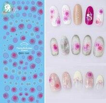 Rocooart DS360 Water Transfer Nails Art Sticker Colorful 2017 Year Tarashikomi Flowers Nail Wrap Sticker Manicura stickers