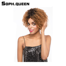 Soph queen Hair Unprocessed Remy Human Hair Wig Brazilian Curly Hair Wig #30 Color Hair Wig 8Inch