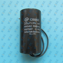 Universal Motor Run Capacitor 25uF 450V CBB60 With Cable