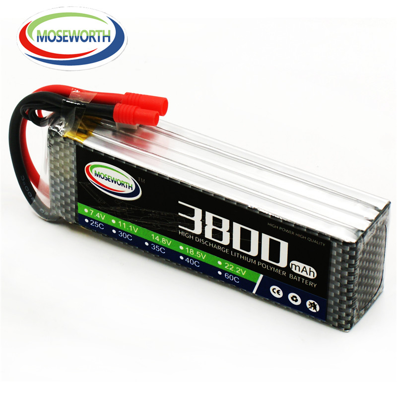 MOSEWORTH RC Drone LiPo battery 4S 14.8v 3800mah 30C Max 60C for RC Airplane Car Free shipping moseworth 4s rc lipo battery 14 8v
