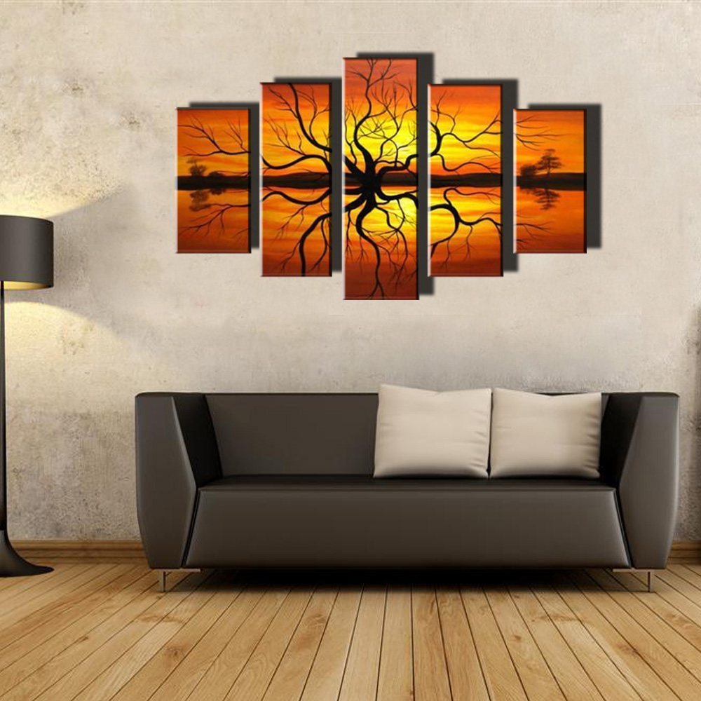 muya 5 piece canvas art large abstract modern paintings african sunset painting canvas art wall. Black Bedroom Furniture Sets. Home Design Ideas