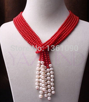 000614 natural red coral necklace white pearl